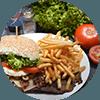 Patat en broodje Angusburger